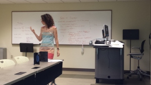 Instructor, Elaine Roth, talks about Mise en Scene with students in the 2016 STEPs summer camp.