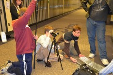 Film instructor, Kevin McNulty works with students in shooting a scene from their film.