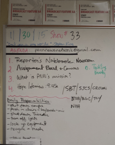 Posted on the board and in Penn's LMS, PNN students hit the ground running with a daily rundown.