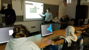 Lucien Fischer shows students in the ABRP how parts of his blog.